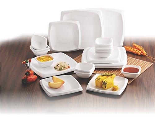 Flair Designer Houseware Microwavable Square Polypropylene Microwave Safe Break Resistant Dinner Set(White, Pack of 24)