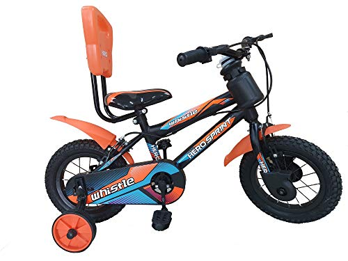 Hero Cycles 14T Steel Frame Cycle with Whistle for Boys and Girls ( 4 to 6 Years, Orange/Black )