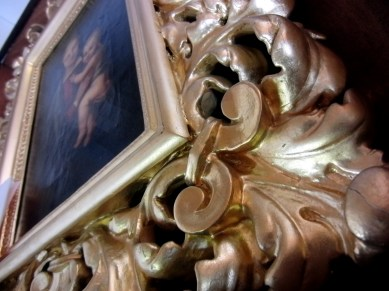 Painting is over 200 years old, check out the gilding...beautiful!