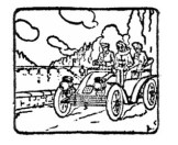 Black-and-white sketch of the three travelers in their open motor car