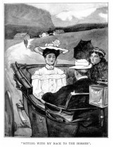 Monty rides with ladies with his back to the horse drawing the carriage.