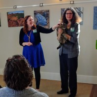 Sarah Willey and Kathleen Henry with a cat at Alto Vineyards