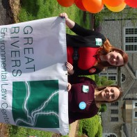 Sarah Willey and Rachel Harris in front of the St. Louis Community Foundation with the Great Rivers banner.