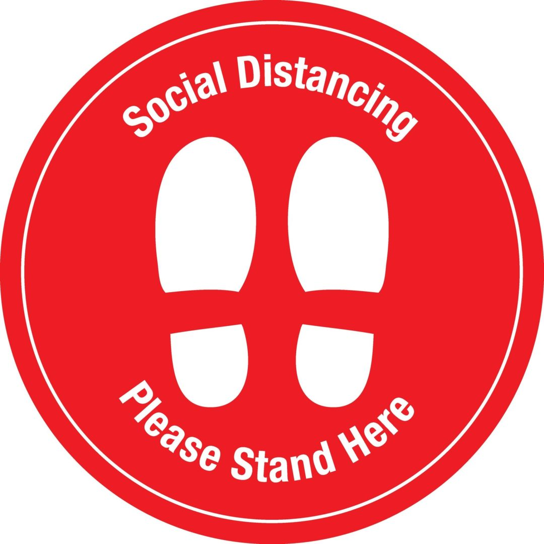 Social Distancing Decal Red