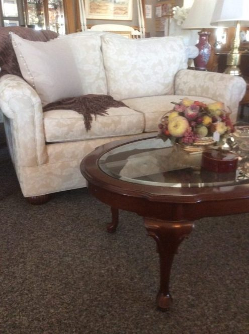 $225 Ethan Allen Love Seat. Oval coffee table $95