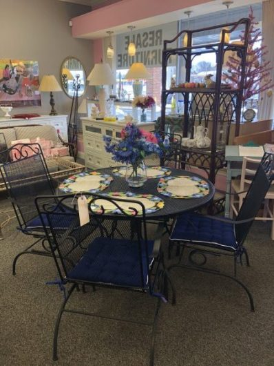 Black wrought iron table with 4 chairs $295