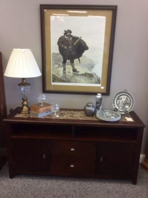 Credenza $250, N.C. Wyeth Print $89, Accents $15-$39 each
