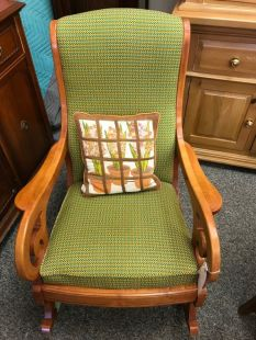 Maple Rocking Chair with Woven Green Pattern $120