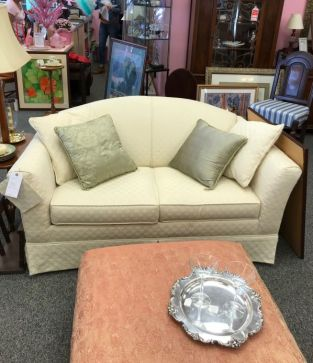 sofa $125, accent pillows $10 each, ottoman $125, silver tray $15, Martini Glasses $8 for the 2