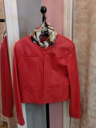 Red Leather Carlisle Jacket size 8, $169, paired with Ferragama Shoe Scarf $75
