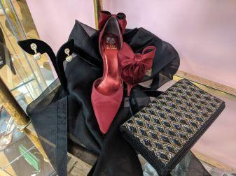 Red Stewart Weitzman Bow Heels size 8.5, beaded clutch $20
