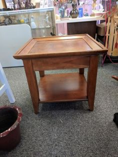 Square End Table side view $85