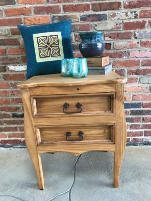$125 Great pine nightstand. $29 Pillow. $29 Teal colored ceramic pitcher