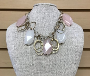 $20 pink and white stone necklace
