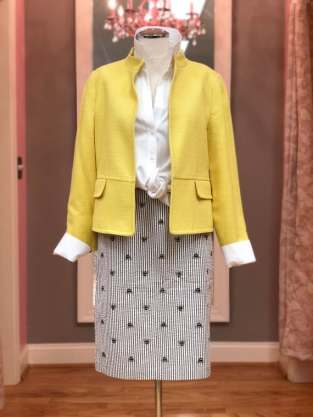 $29 size 6 yellow jacket; $16 size 4 bumble bee embroidered skirt