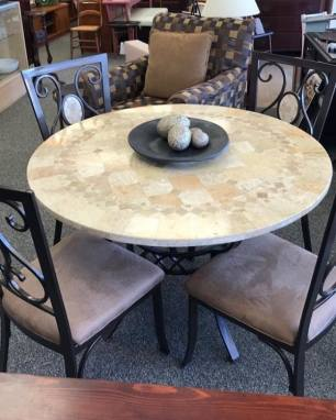 $350 Mosaic top dining table, 4 bronze metal chairs