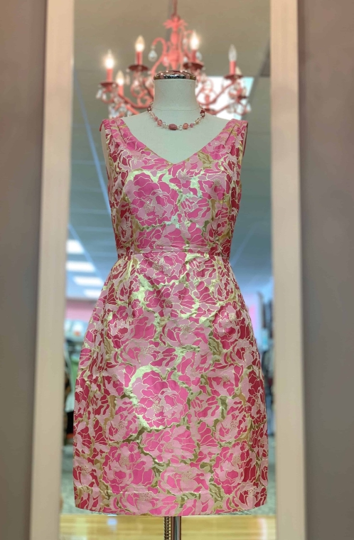 $39 Sz 2 Lilly Pulitzer pink and gold dress