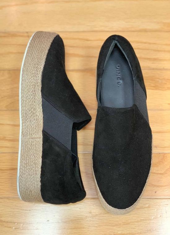 $65 Sz 10 Vince platform sneaker black suede