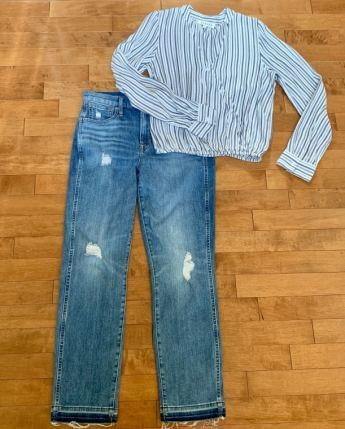 Deconstructed J. Crew jeans size 6 $25 Anthropologie blouse Small $29
