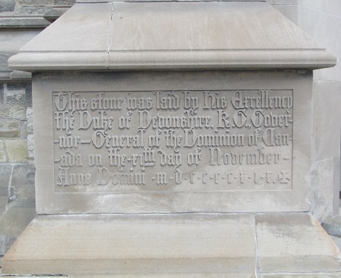 Soldiers' Tower cornerstone