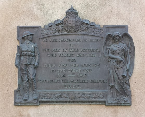 Dedicated to Albertan men who died in the Great War