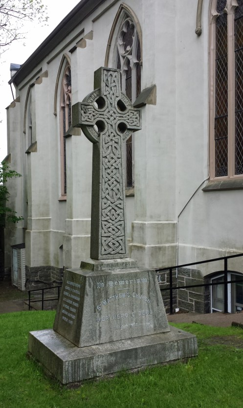 Memorial Cross on lawn of St Matthew's Church, Halifax
