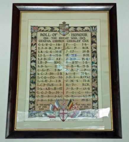 Geneva Church Roll of Honour, 1914-1915
