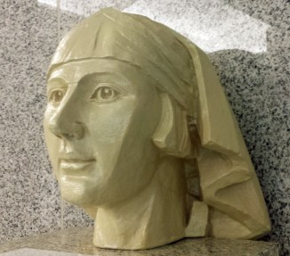 Fibreglass replica of nursing sister's head in Cathedral Place lobby