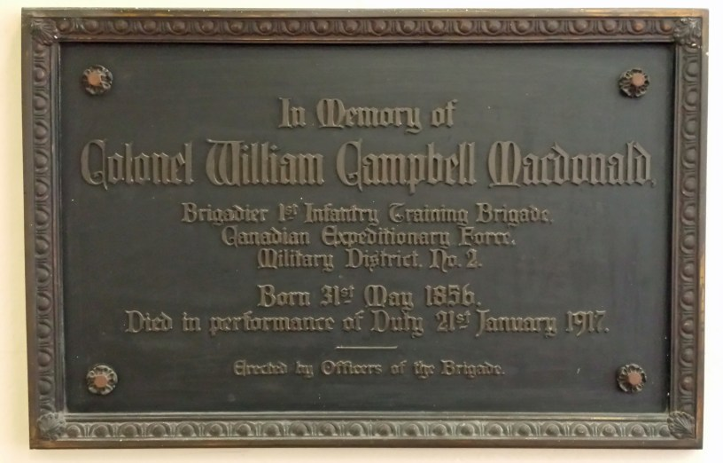 Col William Campbell MacDonald, St James Cathedral, Toronto