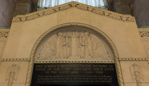 Bank of Commerce screen quotes Rupert Brooke's poem, The Dead