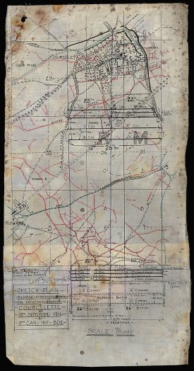 Sketch plan showing formation adopted for the attack & capture, Courcelette on 15th September 1916