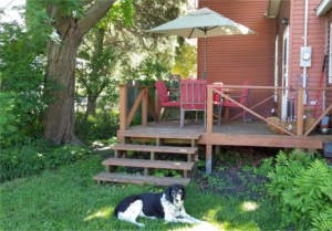 The deck entrance to the GWZS Zendo. Note: The Temple Dog (Seppo) will not be out when you come!