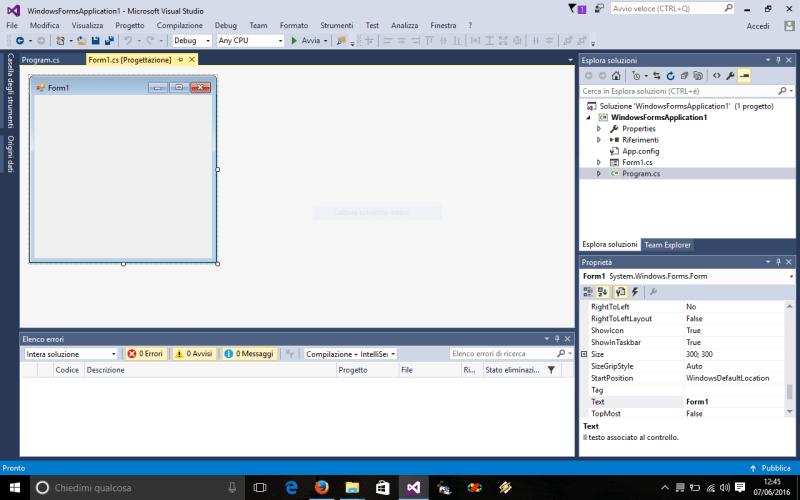 Creazione di un'interfaccia grafica in Visual Studio per programmi in C#