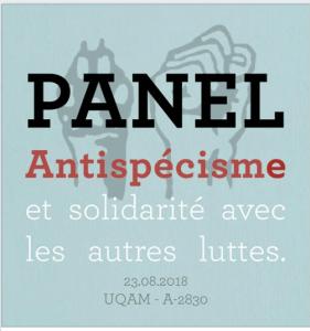 Antispécisme et solidarité avec les autres luttes @ UQÀM, Local A-2830, Montréal