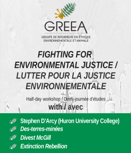 "REPORTÉ - ""Fighting for Environmental Justice"" -  Half-day workshop @ Carrefour des arts et des sciences"