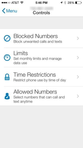 AT&T Smart Limits - Controls Screen