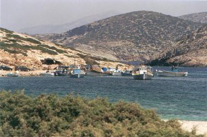 fishing boats in Kalotaritissa bay in Amorgos