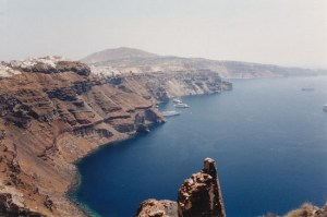 View of the cliffs and the sea in Santorini