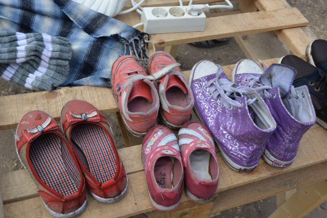 Children's shoes left behind by refugees