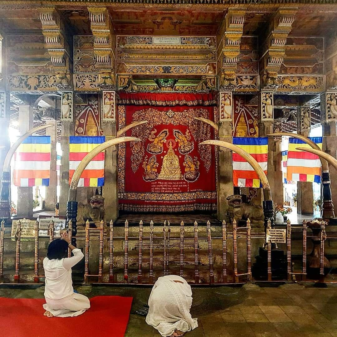 View of the interior of Temple of tooth in Sri Lanka