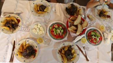Family dinner of lamb and potatoes. Of course there was salad and feta too.