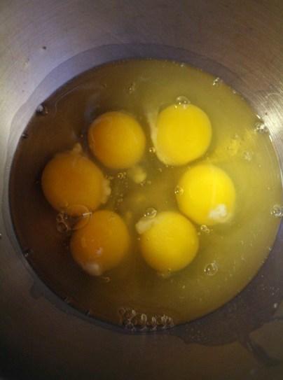 Six eggs go in my mixer.