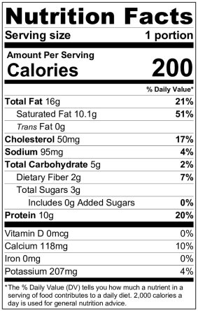 keto pudding nutrition label