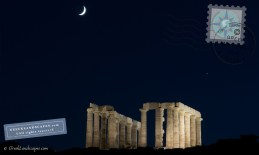 Temple of Poseidon with the moon and planet Jupiter above