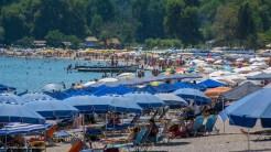 Parasols and bathers packed at Valtos beach.