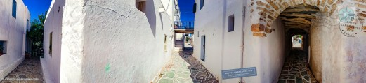 "Panorama with ""folded"" view of Kastro streets and archways. Folegandros"