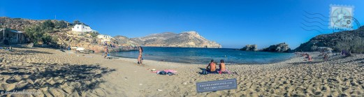 Panorama of beach with bathers