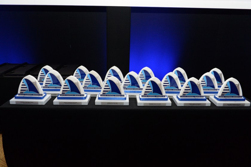 The 17 trophies awaiting the winners of the 2017 Greek Shipping Awards.