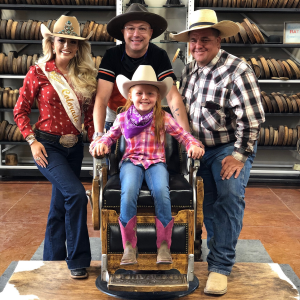 Owner Trent Johnson, Miss Rodeo Colorado 2020, Mike Brashear and Braedi LeBleu posing for a photo