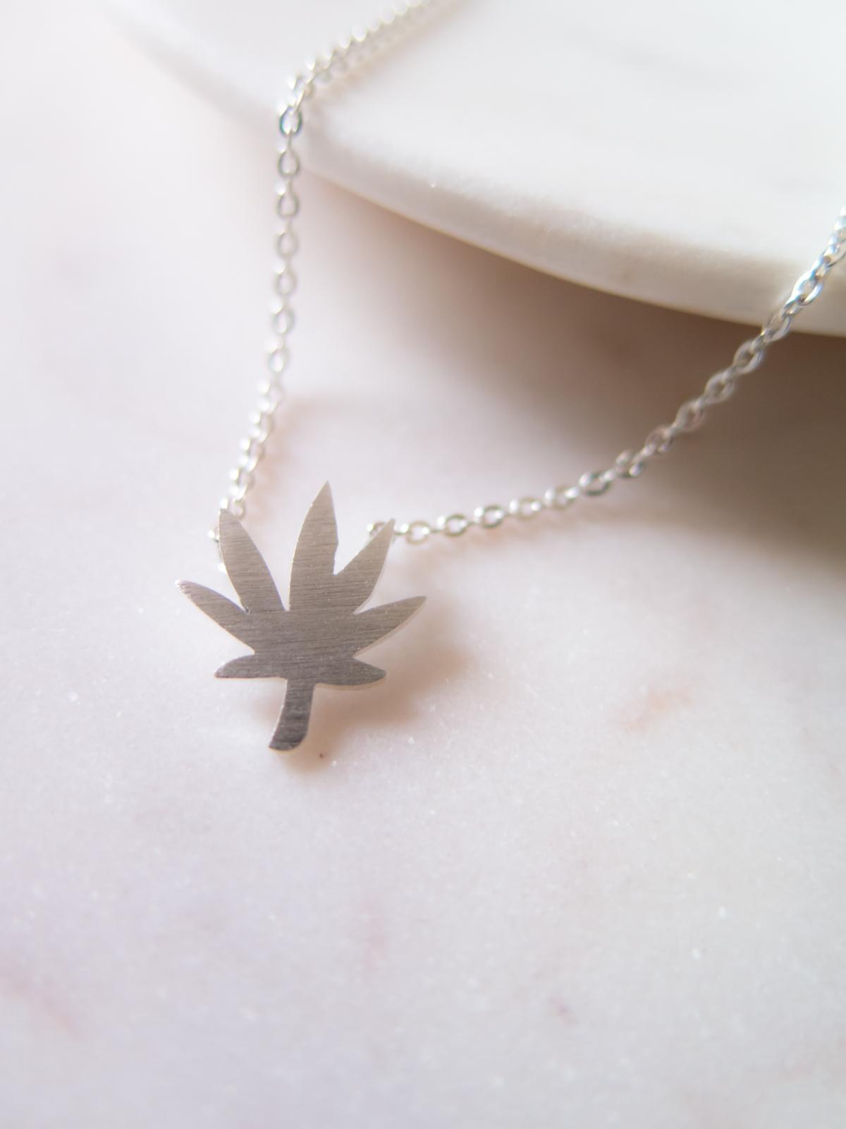 weed necklace silver